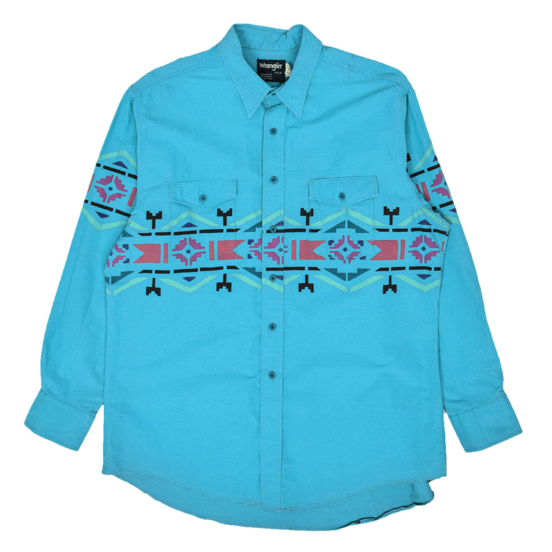 Vintage Wrangler Aztec Western Style Cotton Shirt Made in USA Blue XL front
