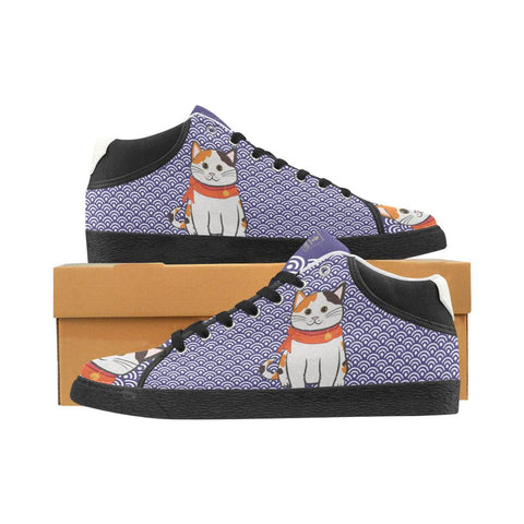 """Manekiko"" - Beckoning Cat Canvas Sneakers - Mens - Equil Streetwear"