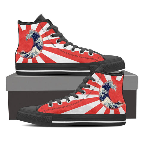 Great Waves of Rising Sun High Tops - Womens