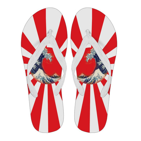 Great Waves of Rising Sun Flip Flops - Mens/Womens