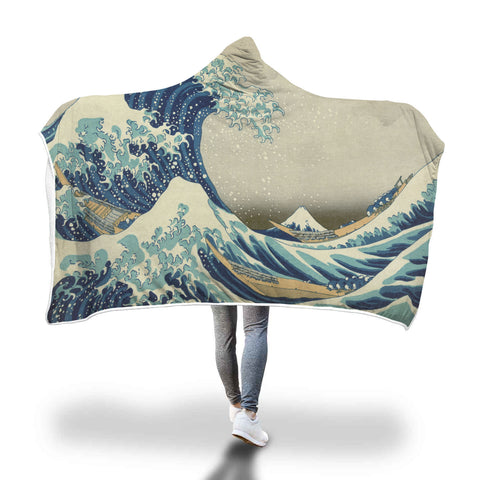 Hokusai Great Wave Hooded Blanket