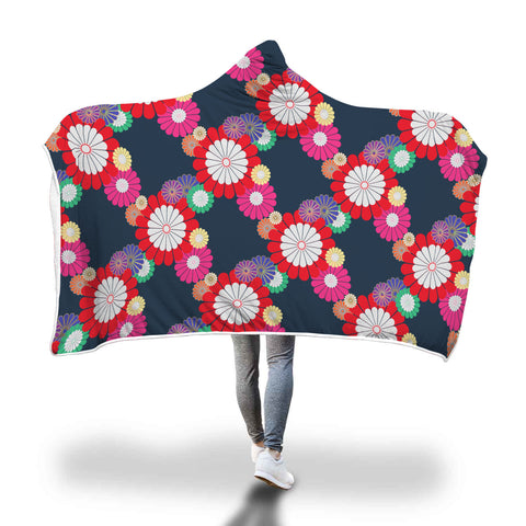 Kiku Floral Pattern Hooded Blanket