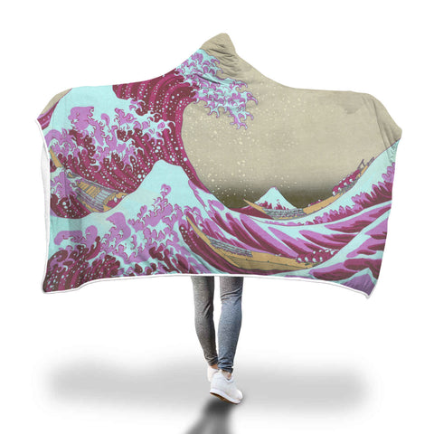 Pink Wave Off Kanagawa Hooded Blanket