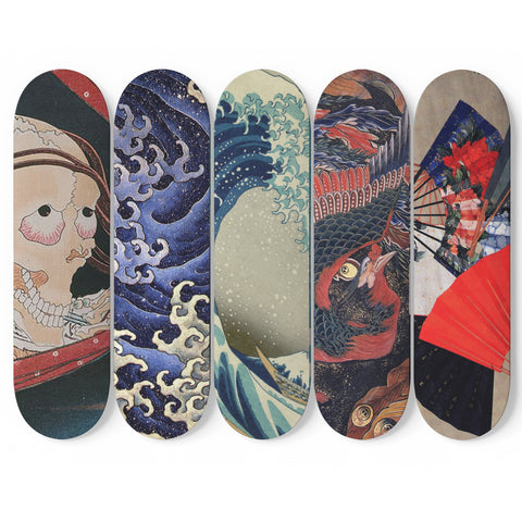 Hokusai Skateboard Collection Wall Art (5 BOARDS)