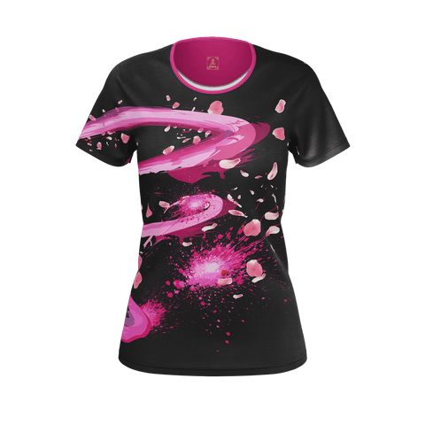 Sakura Swirl Equil T-Shirt - Oynx Black - Womens (Pure Pima Cotton)