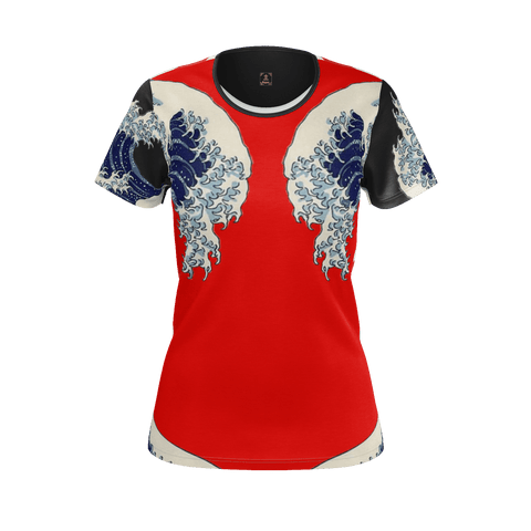 Great Waves of Rising Sun Equil T-Shirt - Womens