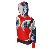 Great Waves of Rising Sun Equil Pullover Hoodie - Womens