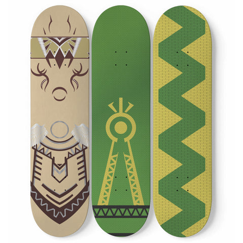 Julia MOTHER NATURE Skateboard Wall Art (3 Boards) - Green