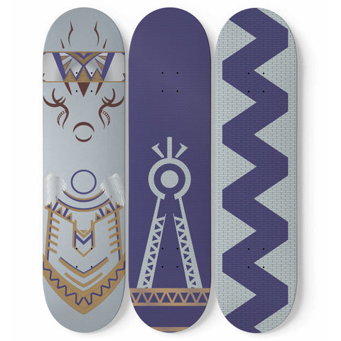 Julia MOTHER NATURE Skateboard Wall Art (3 Boards) - Blue