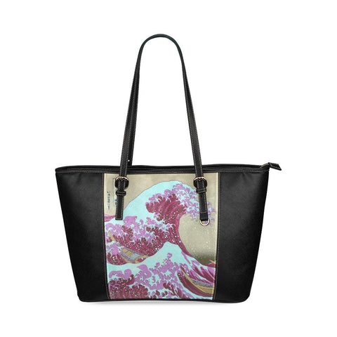 Pink Waves Off Kanagawa Leather Tote Bag