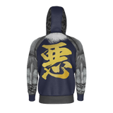 "Armor King ""悪""(Aku) Kanji Equil Hoodie - Mens - Midnight Purple - 260GSM"