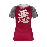 "Armor King ""悪""(Aku) Kanji Equil T-Shirt - Womens - Crimson Red"