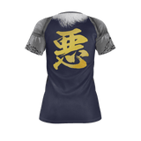 "Armor King ""悪""(Aku) Kanji Equil T-Shirt - Womens - Midnight Purple"