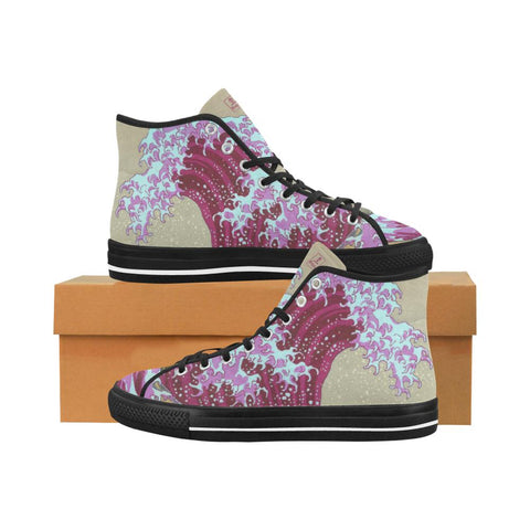 Pink Wave Off Kanagawa Equil High Tops - Womens - Equil Streetwear