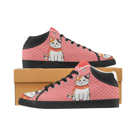 """Manekiko"" - Beckoning Cat Canvas Sneakers - Womens"