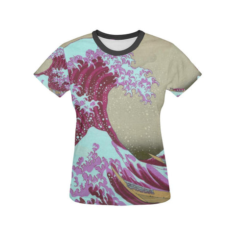 Pink Wave off Kanagawa All Over Print T-Shirt - Womens