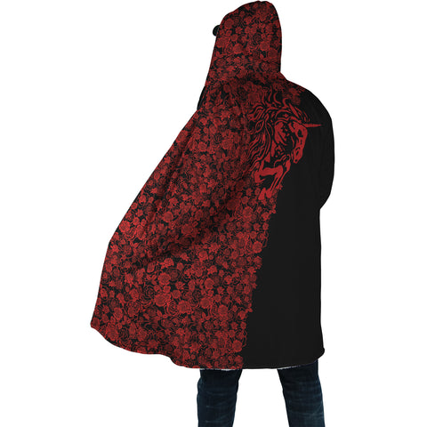 Lee's Excellent Hooded Coat with Unicorn - Red Roses