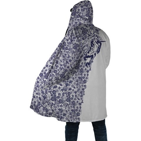 Lee's Excellent Hooded Coat with Unicorn - Cobalt Roses