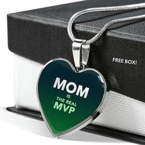 """MOM IS THE REAL MVP"" Heart Pendant Necklace - Forest Green"