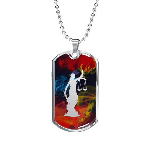 Judgment Lady Justice Dog Tag - Dark