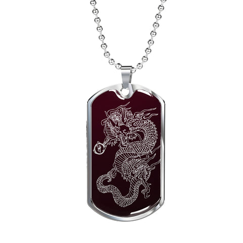 Dragon Ascended Dog Tag - Maroon Base