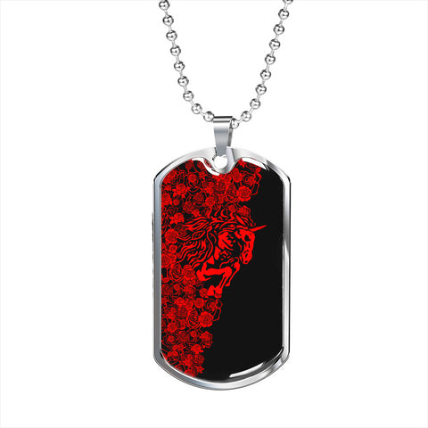 Lee's Excellent w/Unicorn Dog Tag - Red