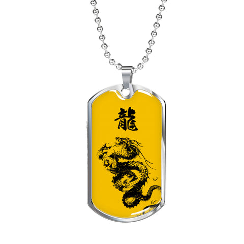 """龍"" Dragon Kanji Dog Tag - Yellow/Black"