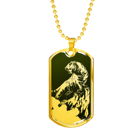 Roaring Tiger Dog Tag - Green Base