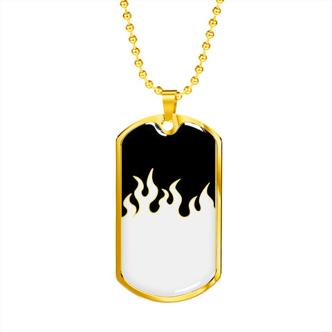 Jin T7 Flame Dog Tag - White Flame