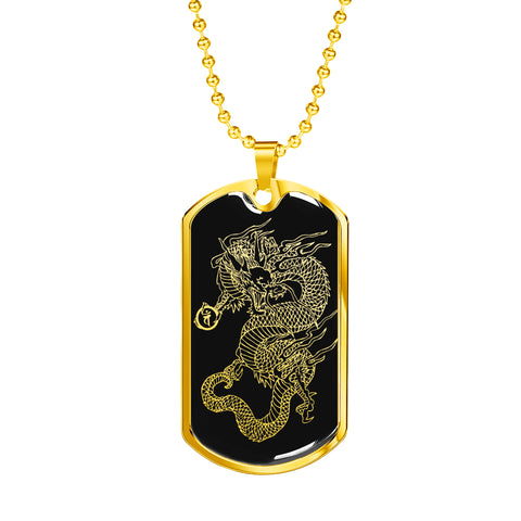 Dragon Ascended Dog Tag - Black Base