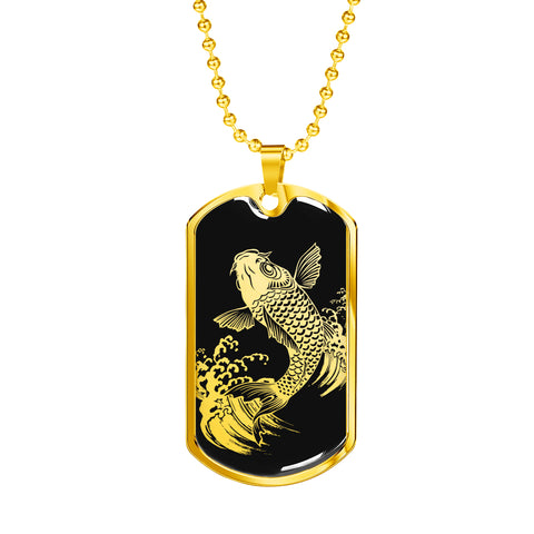 Koi Rising Dog Tag - Black Base
