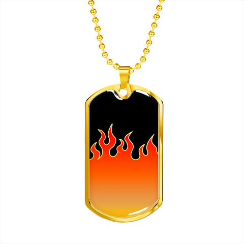 Jin T7 Flame Dog Tag - Red Flame