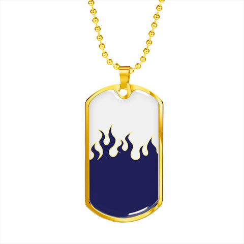 Jin T7 Flame Dog Tag - Blue Flame