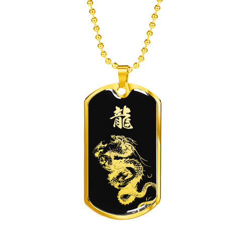 """龍"" Dragon Kanji Dog Tag - Silver/Gold Silhouette"