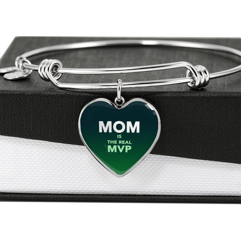 """MOM IS THE REAL MVP"" Luxury Heart Bangle - Forest Green"