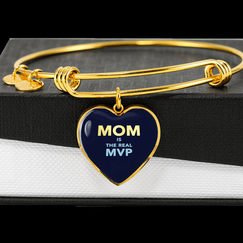 """MOM IS THE REAL MVP"" Luxury Heart Bangle - Blue"