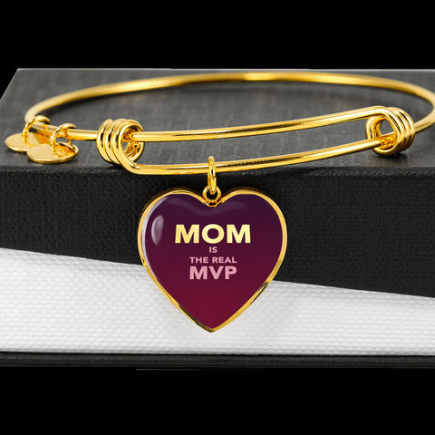 """MOM IS THE REAL MVP"" Luxury Heart Bangle - Crimson Red"