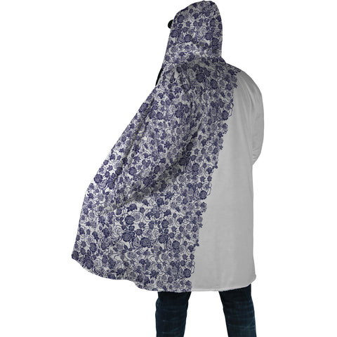 Lee's Excellent Hooded Coat - Cobalt Roses