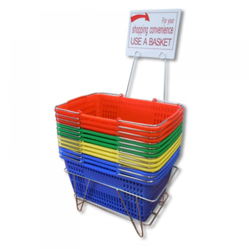 Jumbo Shopping Baskets with Stands & Sign - 12 Pc Set