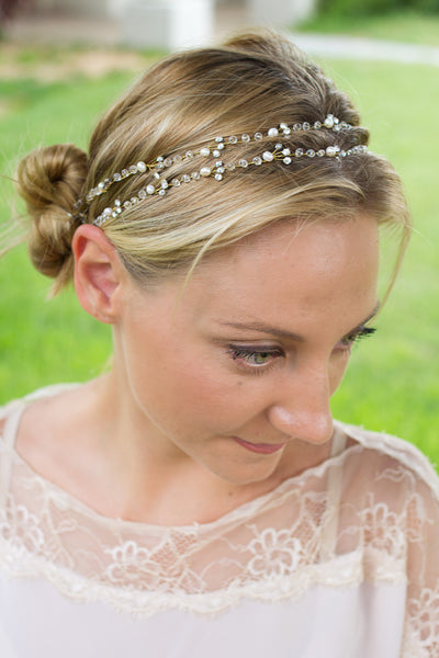 Handmade Wedding Hair Accessory With Rhinestone Crystals