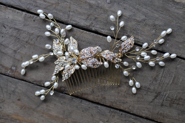Glass Bead Comb Bridal Wedding Hair Accessory
