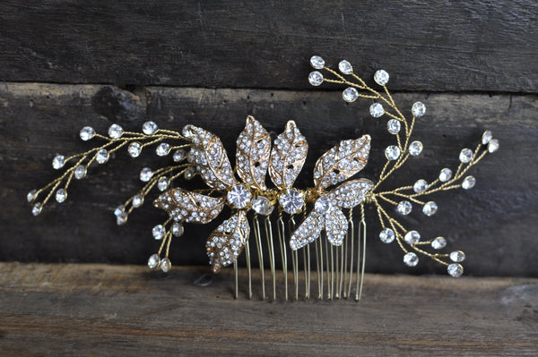 Bridal Wedding Hair Comb With Glass Beads & Rhinestones