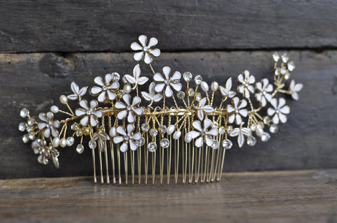 Bridal Hair Accessory Comb With Enamel And Crystal Flower Detail