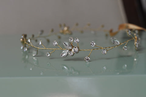 Handmade Bridal Headpiece With Rhinestone Crystals