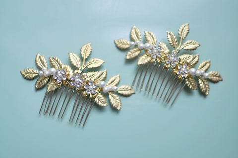 Set Of Two Laurel Bay Leaf Bridal Hair Combs With Faux Pearls