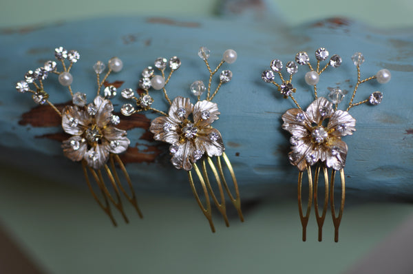 Set Of Three Handmade Wedding Comb Hair Pieces