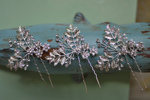 Set Of Three Silver Handmade Bridal Accessory Hairpins