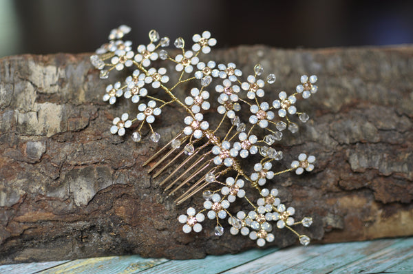 Handmade Faux Opal Bridal Comb Hair Accessory
