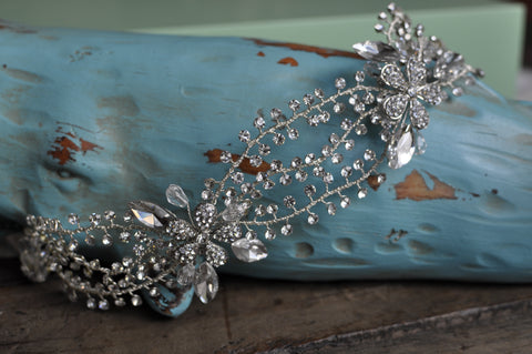 Bridal Vine Hair Accessory With Rhinestones Crystals