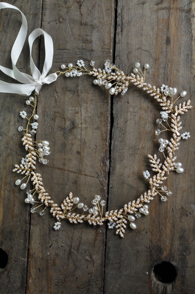Handmade Boho Wedding Hair Piece With Faux Pearls